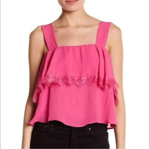 Pink CAD ruffle lace tank top M